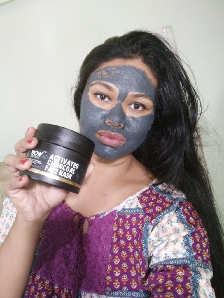 WOW activated charcoal mask application