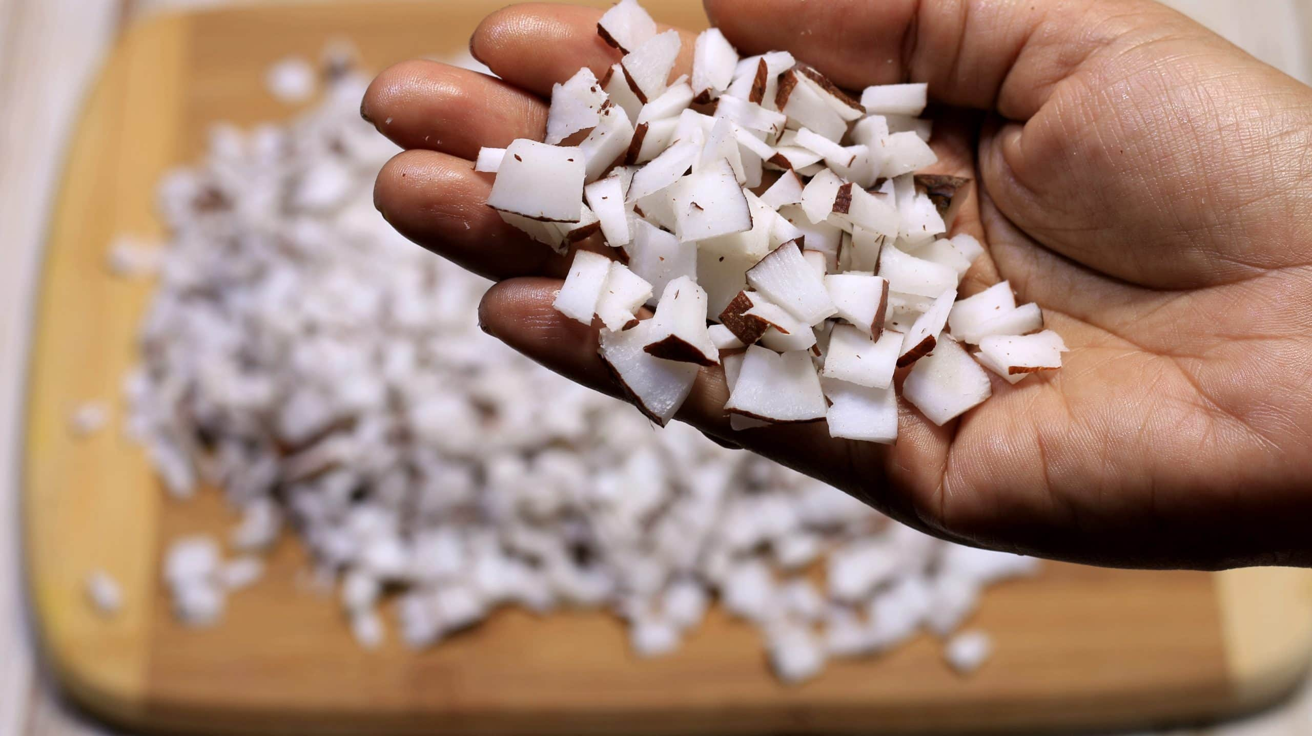 Shell and dice the coconut into smaller pieces